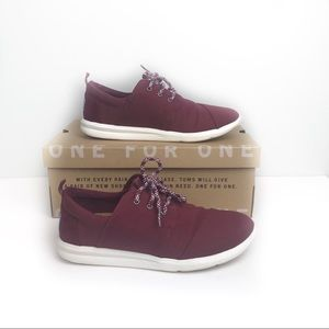 Toms Del Rey Burgundy Washed Canvas Sneakers